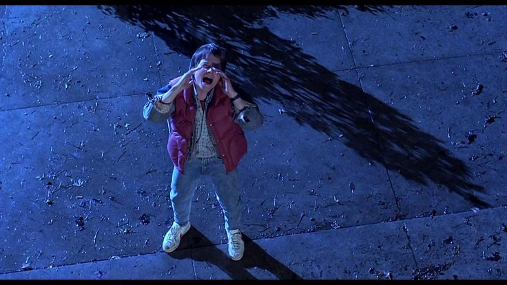Marty McFly shouting at someone above him